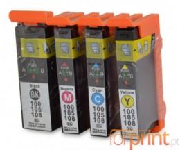 4 Cartouches Compatibles, Lexmark 100 XL Noir 19ml + Couleur 12.5ml