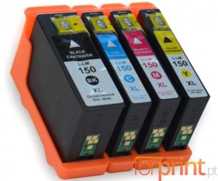 4 Cartouches Compatibles, Lexmark 150 XL Noir 35ml + Couleur 18ml