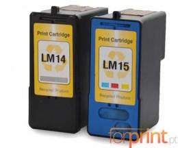 2 Cartouches Compatibles, Lexmark 14 Noir 21ml + Lexmark 15 Couleur 15ml