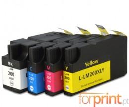 4 Cartouches Compatibles, Lexmark 200 XL / 210 XL Noir 82ml + Couleur 36ml