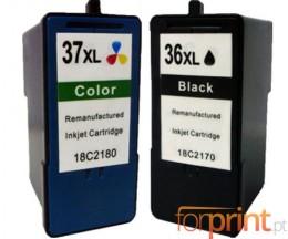 2 Cartouches Compatibles, Lexmark 37 XL Couleur 15ml + Lexmark 36 XL Noir 21ml
