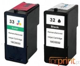 2 Cartouches Compatibles, Lexmark 32 Couleur 15ml + Lexmark 33 Noir 21ml