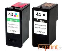 2 Cartouche Compatibles, Lexmark 44 XL Noir 21ml + Lexmark 43 XL Couleur 15ml