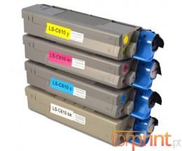 4 Toners Compatibles, OKI 4431530X Noir + Couleur ~ 8.000 / 6.000 Pages