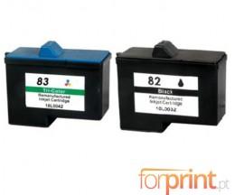 2 Cartouches Compatibles, Lexmark 82 Noir 21ml + Lexmark 83 Couleur 15ml